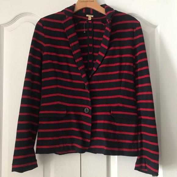J. Crew Jackets & Blazers - J. Crew Maritime Stripe Knit Jacket Blazer Red S
